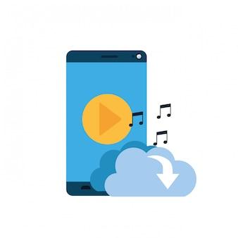 Tela do smartphone com o ícone de download de nuvem isolado