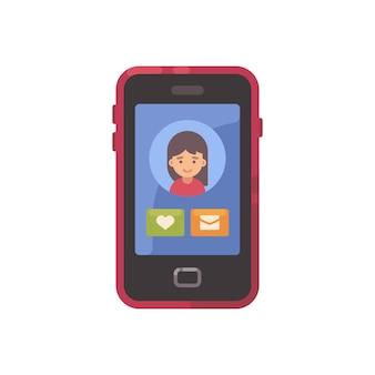 Tela do smartphone com uma interface social app e um ícone plana do avatar de menina. dating app illu