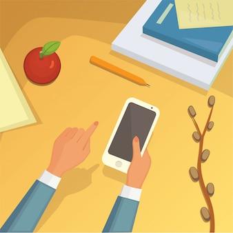 Tela do smartphone. mão segura o smartphone.