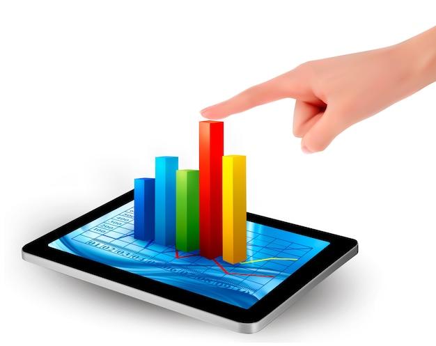Tela do tablet com gráfico e uma mão