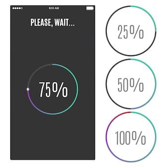 Tela do telefone com barra de progresso de ícones de marcas de porcentagem de carregamento