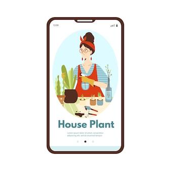 Tela do telefone móvel com uma jovem que cuida de uma casa de plantas em vasos verdes, jardinagem na cidade ...