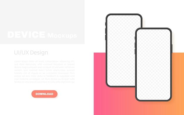 Tela em branco de smartphones, telefone. modelo para infográficos, apresentação ou aplicativo móvel. interface da iu. ilustração moderna.
