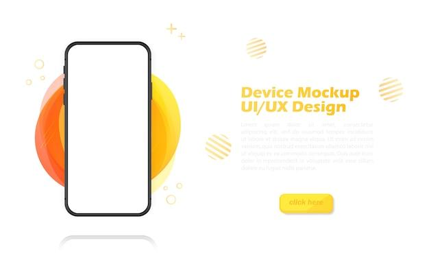 Tela em branco do smartphone, maquete do telefone. modelo de infográficos para interface de design de interface do usuário de apresentação. ilustração.