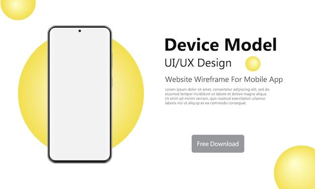 Tela em branco do smartphone, modelo de telefone com círculo amarelo na moda.