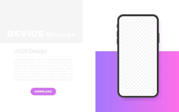 Tela em branco do smartphone, telefone. modelo para infográficos, apresentação ou aplicativo móvel. interface da iu. ilustração moderna.