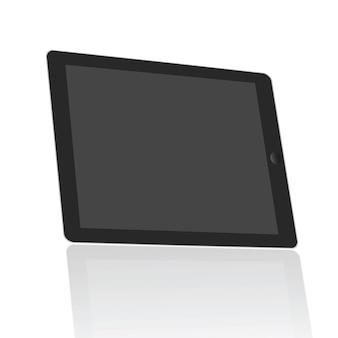 Tela em branco realística da tabuleta ajustada no isolado de 45 graus no fundo branco.
