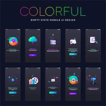 Tela escura colorida de interface do usuário móvel de estado vazio
