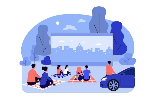 Tela grande do cinema ao ar livre