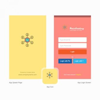Tela inicial de rede da empresa e página de login com logotipo