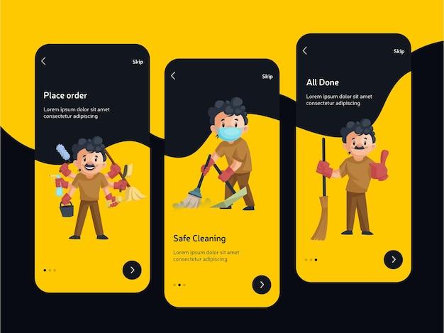 Tela inicial para design plano de aplicativos móveis