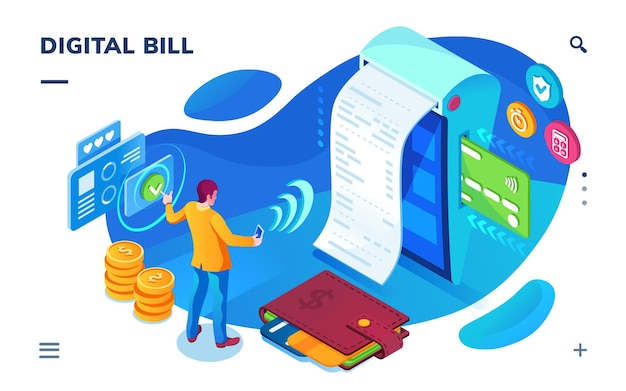 Tela isométrica de pagamento de contas, serviço de pagamento digital como aplicativo de smartphone