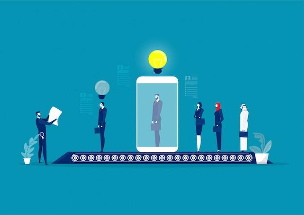 Tela masculina do gerente de rh e entreviste o candidato em uma tela enorme do tablet digital. fila longa de candidatos a emprego. processo de contratação. ilustração