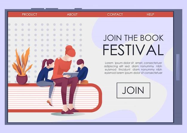 Tela móvel com a página de destino convidar para o bookfest