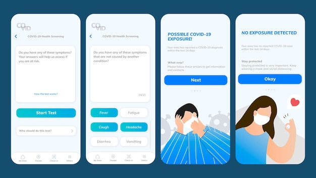 Tela móvel do modelo de aplicativo de exame de saúde covid-19
