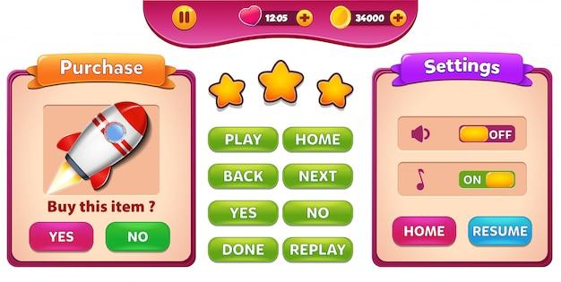 Tela pop-up do menu compra e configurações com estrelas e botão