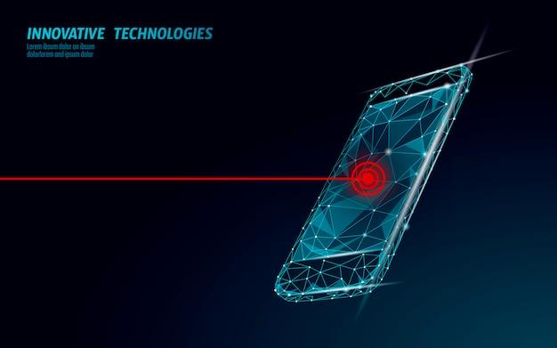 Tela quebrada do smartphone móvel fatal. dados de bug de erro de software perdidos. reparação de serviço telefônico ajuda o conceito de negócio. ilustração de alerta de segurança da informação de ataque de vírus de laptop.