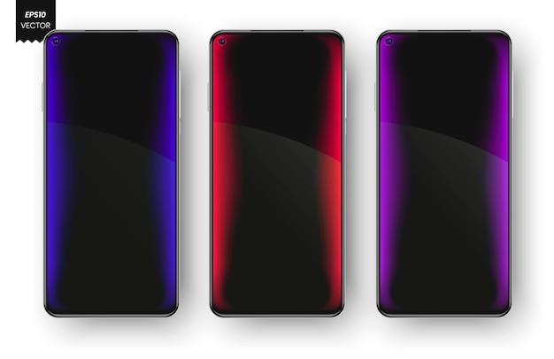 Telas coloridas de notificação de smartphones.