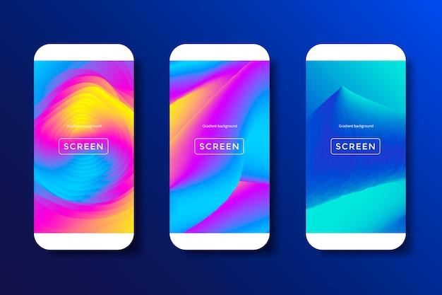 Telas com gradiente vibrante definido plano de fundo para smartphones e telefones celulares.