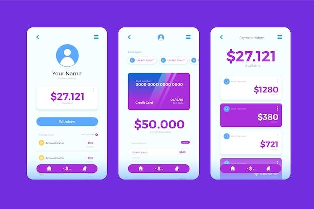 Telas da interface do aplicativo bancário