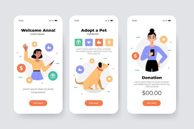 Telas da interface do aplicativo de caridade
