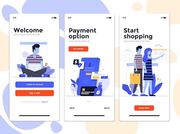 Telas de aplicativo de design plano - compras on-line