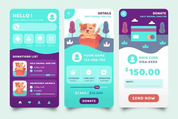Telas de aplicativos de caridade