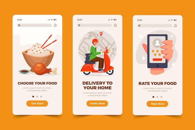 Telas de aplicativos de comida
