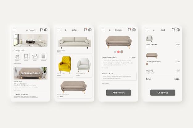 Telas de aplicativos de compras de móveis