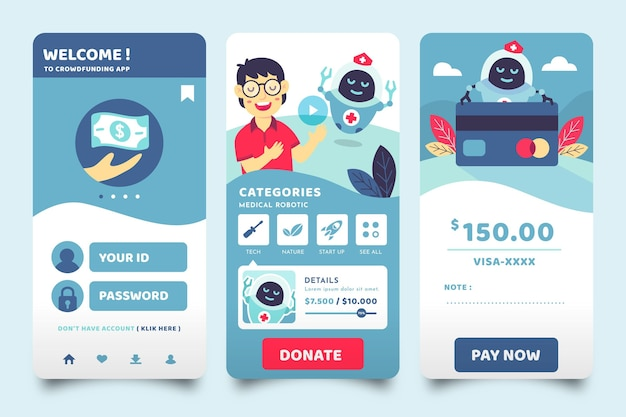 Telas de aplicativos de crowdfunding
