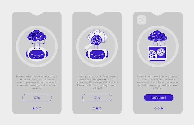 Telas de aplicativos de integração com tecnologia de inteligência artificial robótica