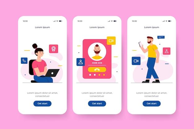Telas de aplicativos de integração de mídias sociais