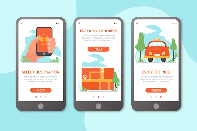 Telas de aplicativos de integração de serviço de táxi