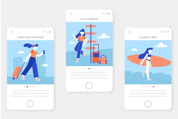 Telas de aplicativos de integração de viagens de férias para celular
