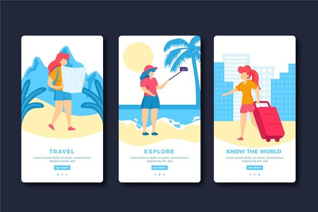 Telas de aplicativos de integração de viagens de férias