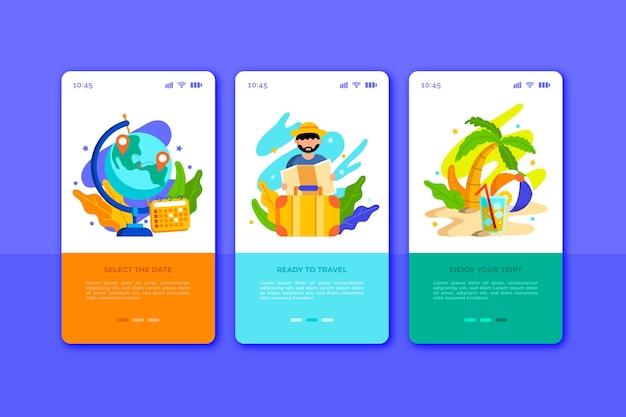Telas de aplicativos de integração de viagens para celular