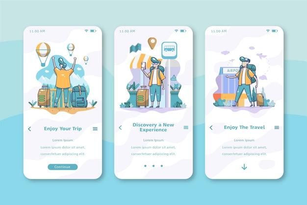 Telas de aplicativos de integração de viagens