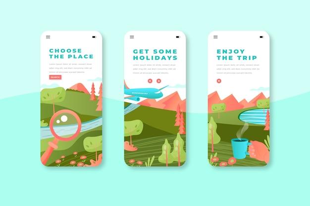 Telas de aplicativos de integração móvel para viagens