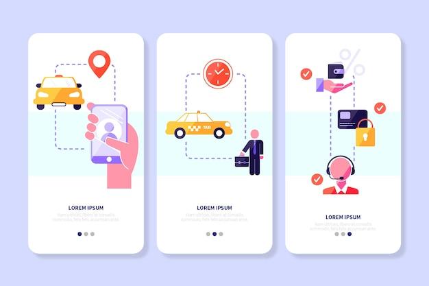 Telas de aplicativos de serviço de táxi com telefone celular