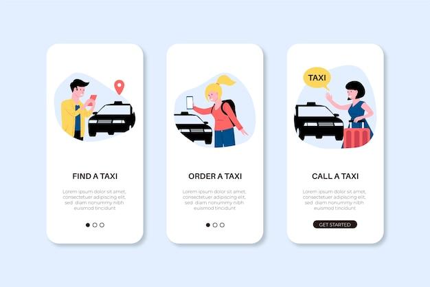 Telas de aplicativos de telefone para serviço de táxi