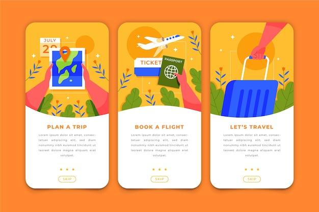 Telas de aplicativos de viagem para celular