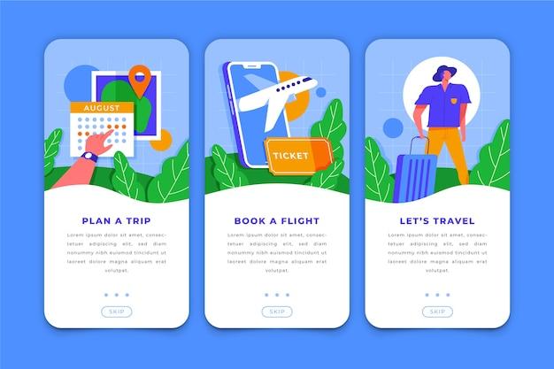 Telas de aplicativos de viagens para celulares