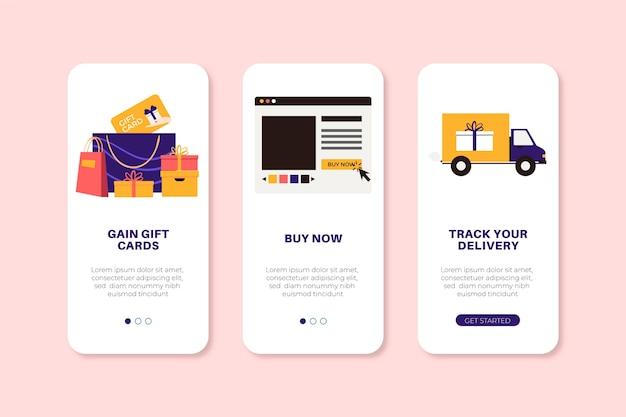Telas de aplicativos definidas para compra on-line