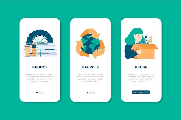 Telas de aplicativos definidas para reciclagem