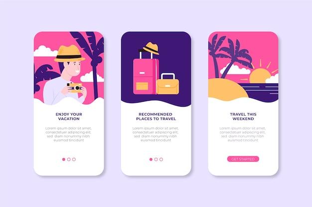 Telas de aplicativos definidas para viajar