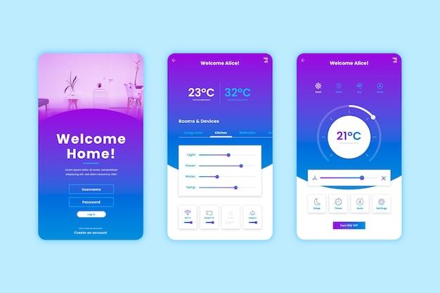 Telas de aplicativos domésticos inteligentes