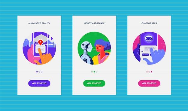 Telas de aplicativos integradas com tecnologia de inteligência artificial