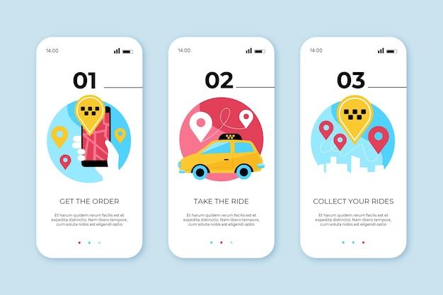 Telas de aplicativos integradas para serviço de táxi