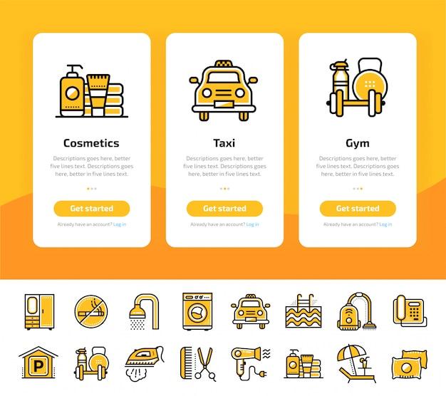 Telas de aplicativos integrados do conjunto de ícones de serviços de hotel