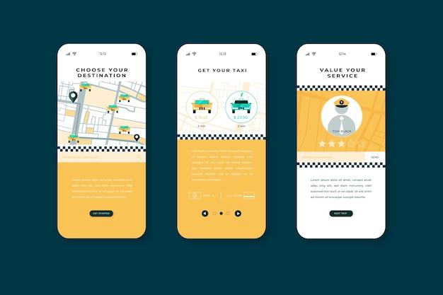 Telas de aplicativos integrados do serviço de táxi móvel